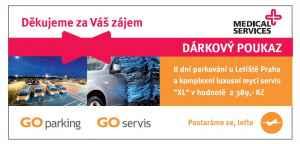 Voucher na parkování u letiště - dárek k předplatnému časopisu Postgraduální medicína
