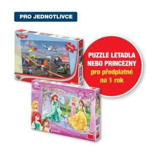 Puzzle Letadla nebo Princezny - dárek k předplatnému časopisu Pastelka