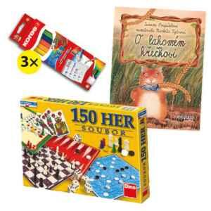 Hra + křeček + troje pastelky - dárek k předplatnému časopisu DRÁČEK